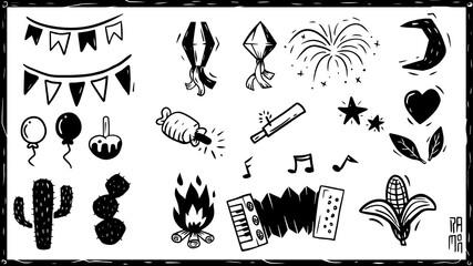 Obraz Elementos festa junina, São João, sanfona, fogueira, cacto, fogos, Xilogravura, Nordeste do Brasil. accordion, bonfire, cactus, fireworks, Woodcut, Northeastern Brazil. - fototapety do salonu
