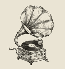 Obraz Musical record gramophone in vintage engraved style. Hand drawn sketch vector illustration - fototapety do salonu
