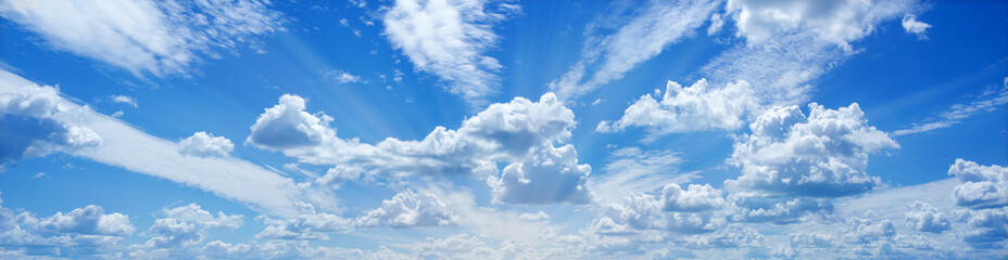 Divine blue sky and fluffy clouds, rays radiating Wonderful Heavenly Light. Banner ad