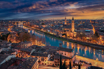 Sunset skyline of Verona, Italy