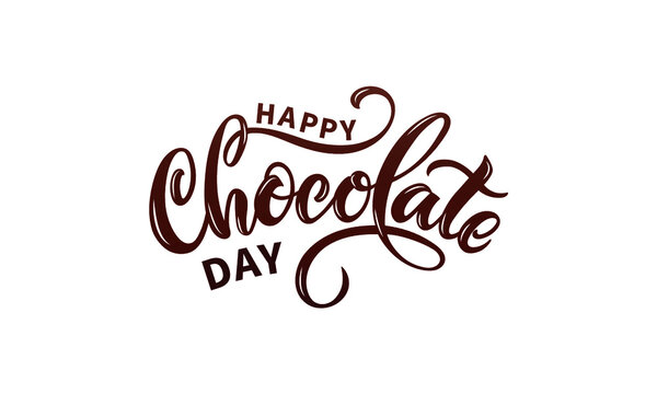 Happy chocolate day handwritten text isolated on white background for  World Chocolate Day. Modern brush ink calligraphy. Hand lettering for poster, postcard, label, sticker, logo. Vector illustration