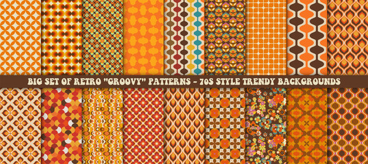Fototapeta Big set of 18 colorful retro patterns. Vector trendy backgrounds in 70s style. Abstract modern geometric and floral ornaments, vintage backgrounds obraz