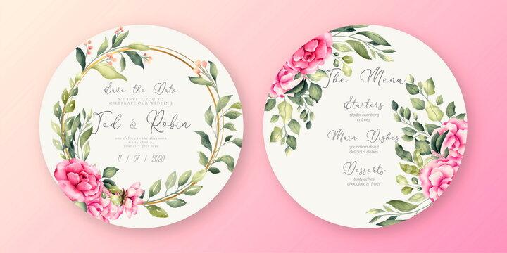 beautiful wedding invitation menu template design vector illustration