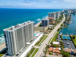 aerial drone of Boca Raton, Florida with city and beach  - fototapety na wymiar