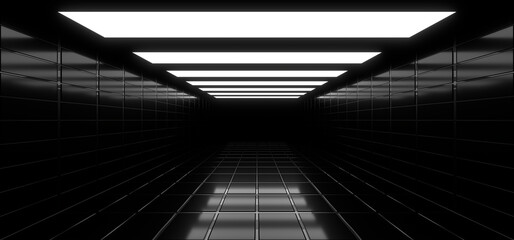 Fototapeta A dark tunnel lit by white neon lights. Reflections on the floor and walls. 3d rendering image. obraz