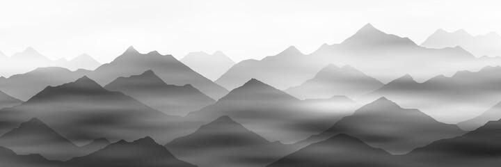 Fototapeta Morning fog in the mountains, black and white landscape obraz