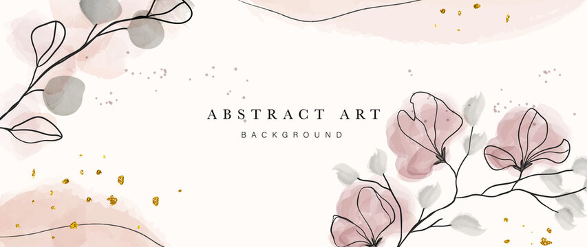 Abstract art botanical pink background vector. Luxury wallpaper with pink and earth tone watercolor, leaf, flower, tree and gold glitter. Minimal Design for text, packaging, prints, wall decoration.