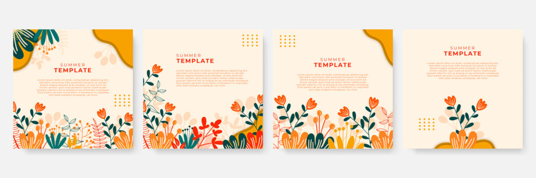 Summer floral background. Floral background with post stories social media template. Wedding invitation, thank you card, save the date cards. Wedding invitation.