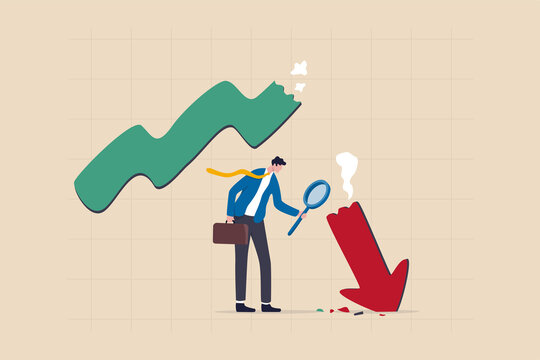 Market crash analysis, learn from failure or crisis and recession data, analyze or measure investment downturn concept, businessman analyst using magnification glass to look at red crash graph arrow.