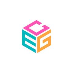 Obraz Hexagon logo with the letters CEG design - fototapety do salonu