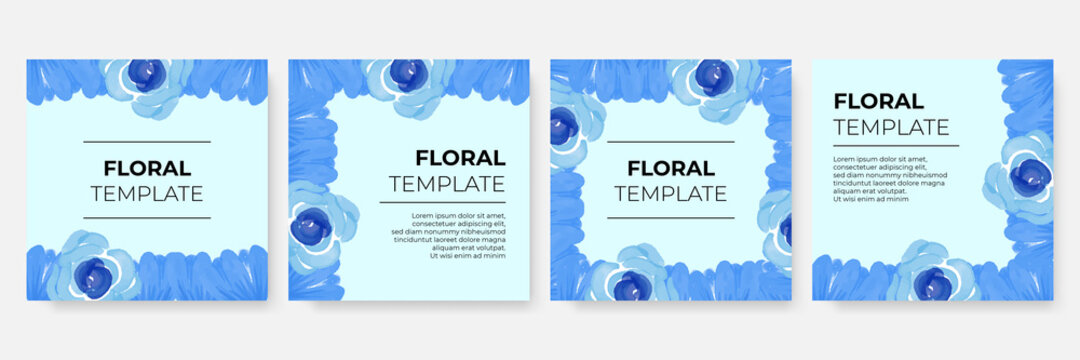 Blue floral and flowers background for post stories social media template. pretty blue floral watercolor seamless background. Floral Frame Collection. Set of cute watercolor retro flowers.