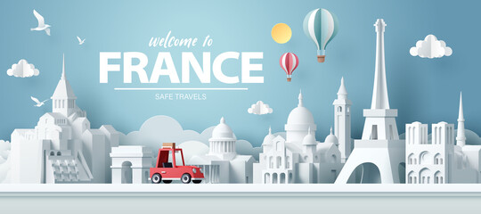 Fototapeta Paper art of red car take travel to paris after covid outbreak end, safe travels and journey in paris concept obraz