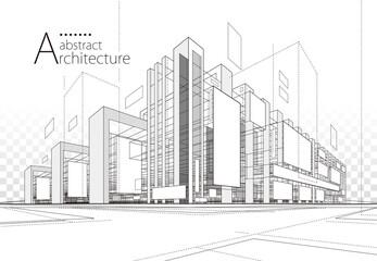 Estores personalizados com sua foto 3D illustration linear drawing. Imagination architecture urban building design, architecture modern abstract background.
