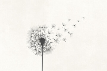 Obraz Illustration of dandelion vanishing in the air with the wind, surreal concept symbol - fototapety do salonu