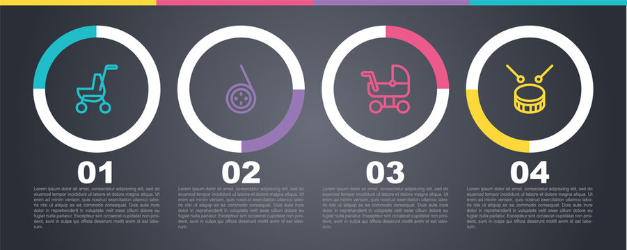 Set line Baby stroller, Yoyo toy, and Drum with drum sticks. Business infographic template. Vector