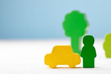Fototapeta Wooden toy building kit details on blue background obraz