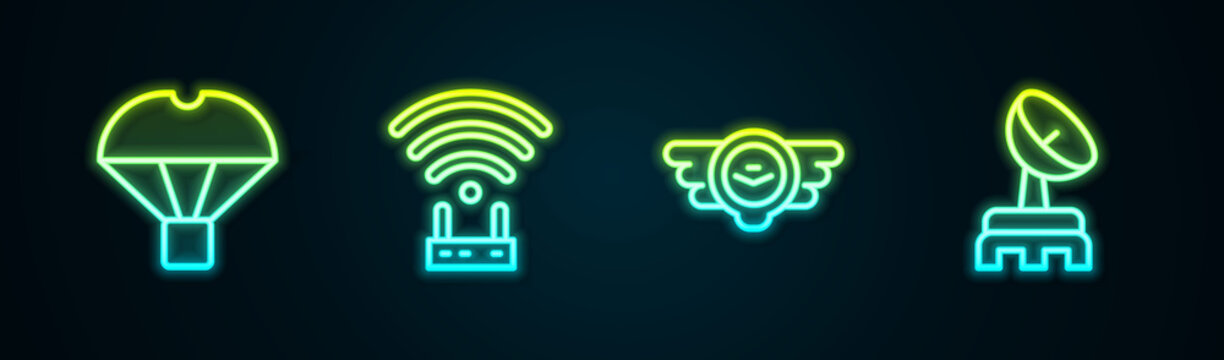 Set line Box flying on parachute, Router and wi-fi signal, Aviation emblem and Radar. Glowing neon icon. Vector
