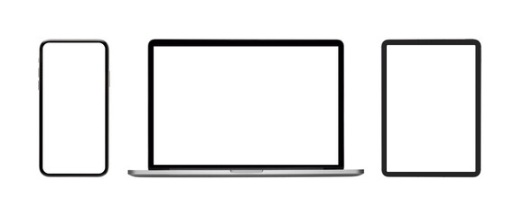 collection blank screen of new model smartphone, laptop , tablet isolated with on white background - fototapety na wymiar