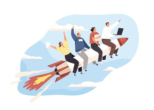 Launch of business startup concept. Team of entrepreneurs flying up on rocket. Group of people on way to success, developing and achieving goals. Flat vector illustration isolated on white background