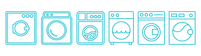 Fototapeta Стиральная машинка, washing machine icon, set of washing machines for washing clothes and things, new vector icons obraz
