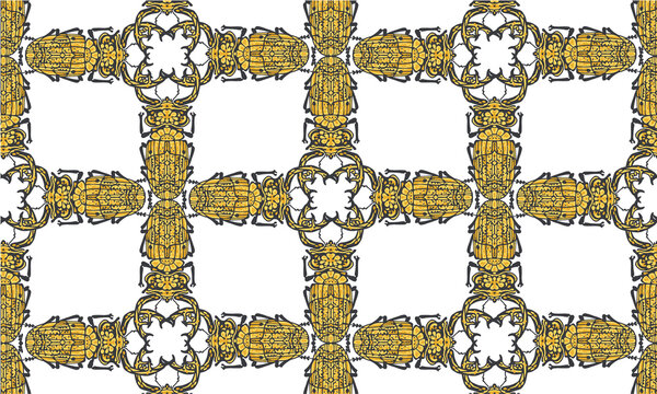 Seamless pattern with decorative illustrations of stag beetle insects on a white background, in a mosaic repeat.