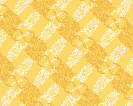 Seamless pattern with detailed illustrations of stag beetle insects on a light yellow background in a criss-cross diagonal repeat.