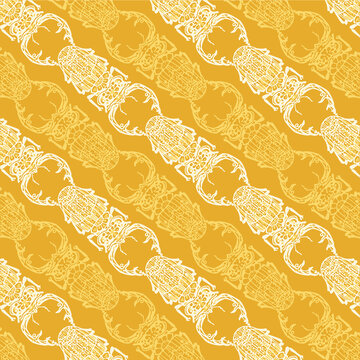 Seamless pattern with detailed illustrations of stag beetle insects on a dark yellow background in diagonal repeat.