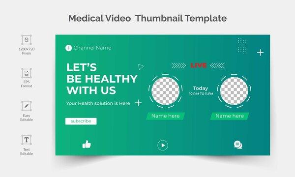 Live Stream youtube medical video thumbnail or social media banner design template.
