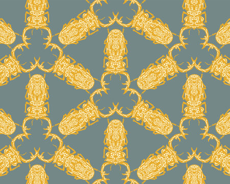 Seamless pattern with decorative illustrations of stag beetle insects on a green background in a mosaic repeat.