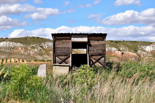 La Guardia lagoons. Natural landscape with hut for bird watching, in the La Guardia lagoon, town of Toledo, Spain