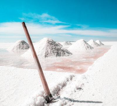 Salt production instrument on backgroung of salt hills in Salar de Uyuni