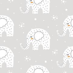 Modèle sans couture d& 39 éléphants mignons dans un style scandinave