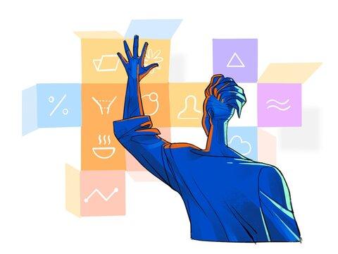 Uomo gestisce i task virtuali