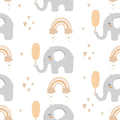 Seamless pattern with elephants with balloon in scandinavian style
