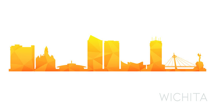 Wichita, KS, USA Low Poly Skyline Clip Art City Design. Geometric Polygon Graphic Horizon Icon. Vector Illustration Symbol.