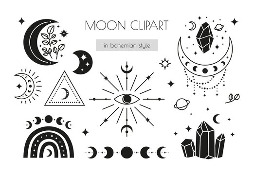 Set of hand drawn boho icons: third eye, moon phases, crescents, stars, rainbow, crystals.