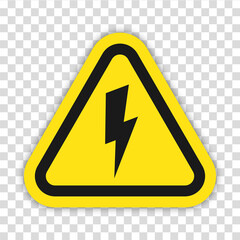 Fototapeta Danger high voltage sign vector. Isolated black and yellow triangle sign with eletric lightning. Electrical shock hazard icon. Vector to PNG illustration. obraz