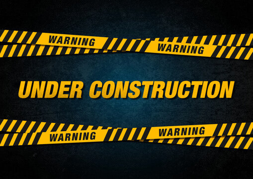 Under construction sign with caution and danger ribbon over pavement background