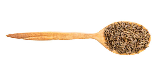 Fototapeta top view of wood spoon with caraway seeds isolated obraz