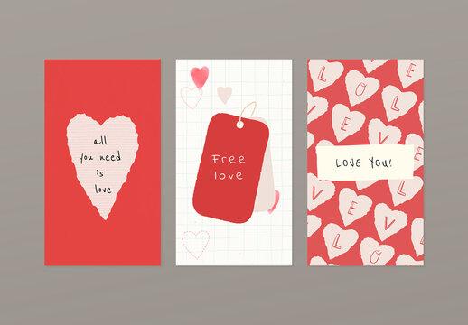 Valentines Day Social Media Story Layouts