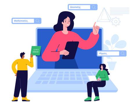 Online education scene concept. Teacher leading webinar or lecture