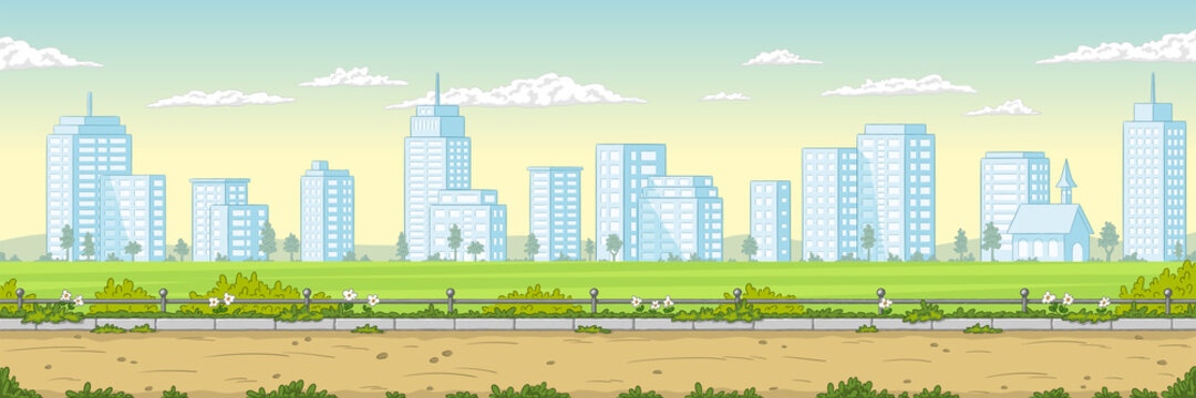 Empty park with skyline in background. Public place wor walking and recreation. Urban garden Cartoon vector illustration.