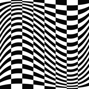 Checkered vector black and white rectangles. Seamless wavy race flag ornament.