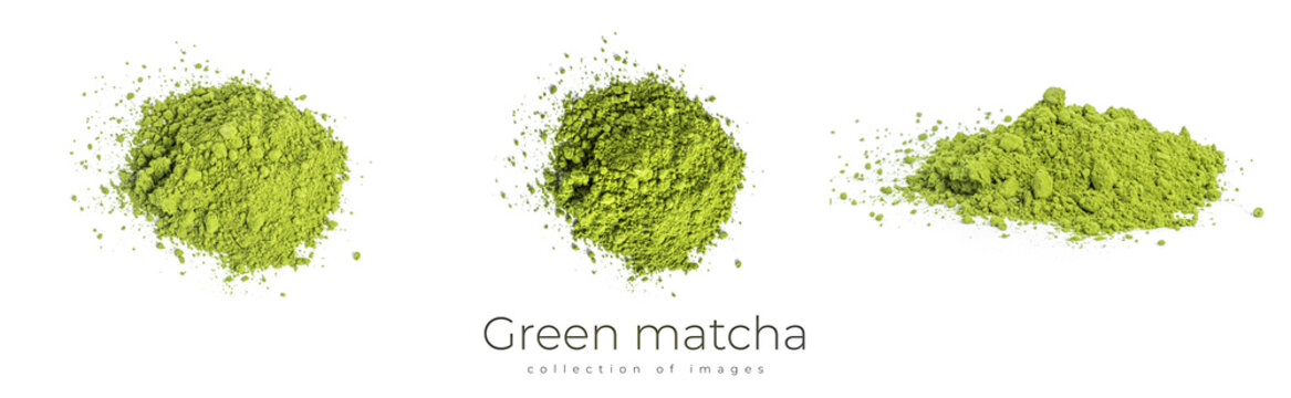 Green matcha powdered tea isolated on white background.
