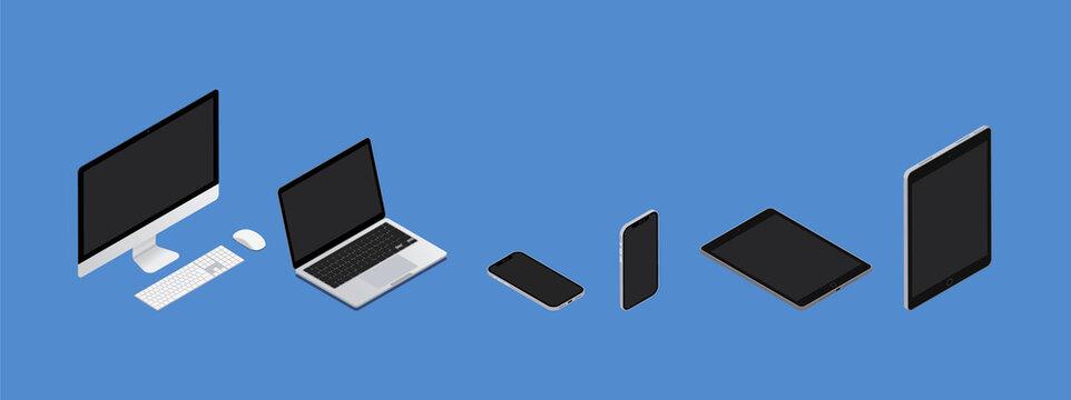 パソコン、ノートパソコン、PC、スマートフォン、タブレット、ベクターイラストレーション desktop,laptop, tablet,phone,vector,illustration