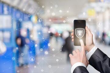 Fototapeta Concept of secure wi-fi network . obraz