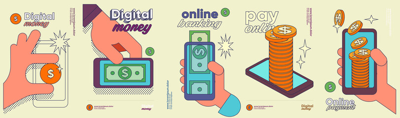 Money. Set of vector illustrations. Funny cartoon style. Cash is digital money, business objects and icons with a stroke.