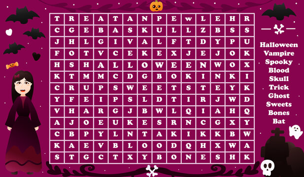 Word seach game for kids with cute vampire character for halloween party, spooky riddle for worksheet or children books with skulls, bats and tombs in cartoon style on dark background