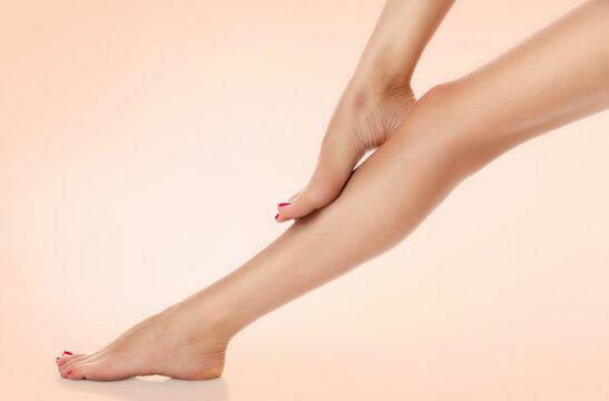 Beautiful female legs. Skin care concept