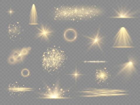 Yellow light effect, spotlights, flare stars dust.